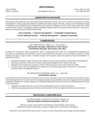 ... Example Administration Manager Resume Free Sample Career Profile ...