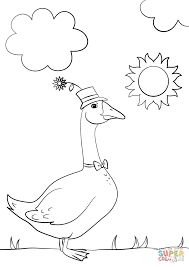 Small Picture Cartoon Goose Wearing Hat and Bow Tie coloring page Free