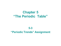 "Chapter 5 ""The Periodic Table"" 5-3 ""Periodic Trends"" Assignment ..."