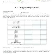 Profit And Loss Statement Template Free Excel Form For Self Employed