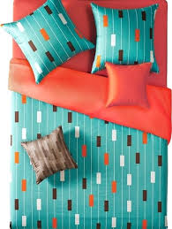 reversible teal and orange stripe duvet cover set twin contemporary duvet covers turquoise duvet cover sets