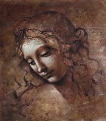 masterpiece woman of the disordered hair of oil painting da vinci
