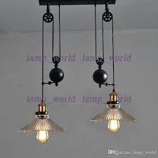 light up down dining room vintage pulley lamp kitchen light rise fall glass shade chandelier