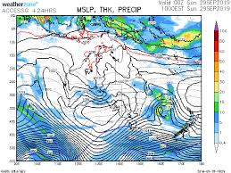 10 Day Bom Access Model Weather Forecast Of Isobars And Rain