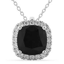 halo cushion cut black diamond necklace 14k white gold 2 27ct