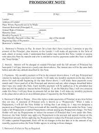 Blank And Promissory Note Template Sample In Ms Word Format