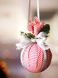 This striped kissing ball (or ornament) is easy to make with a craft foam  ball and fabric scraps. Find out how it was made at Good Housekeeping