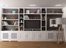 ... Wall Units, Built In Tv Bookcase Bookshelf Tv Stand Combo Made To  Measure Spray Painted ...