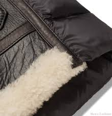 moncler men coats jackets moncler laredo shearling trimmed leather and quilted shell down