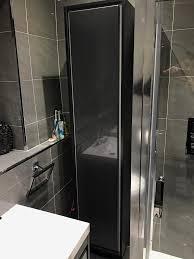 Wickes Bathroom Wall Cabinets Tall Bathroom Cabinet In Gloss Grey From Novellara Range From