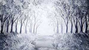 sunlit forest path acrylic painting black white monochromatic painting