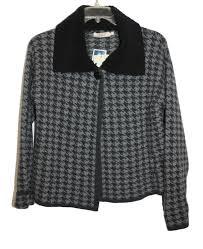 A.Ida Black Gray Wool Open Front Fleece Collar Ladies Womens Jacket Sz LRG  NWT | eBay