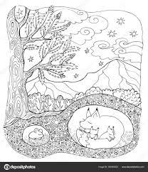 Kleurplaat Pagina Bos Dieren Stockvector Snowkat 189364200 With