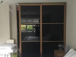 black glass ikea sliding wardrobe doors