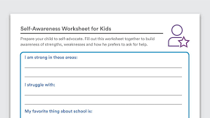 Self Awareness Worksheets for Kids