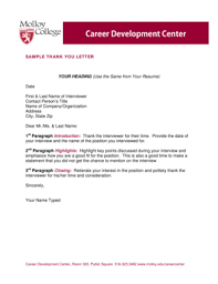 Sample Thank You Letter After Interview Via Email Forms And