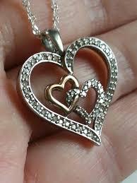 sterling silver 925 14k rose gold diamond open hears pendant necklace zales from zales