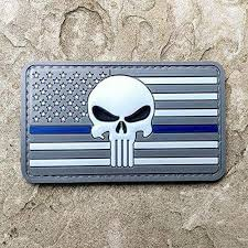 Punisher skull embroidered patch iron on sew on badge for clothes bags etc. Subdued Thin Green Line Thin Blue Line American Flag And Punisher