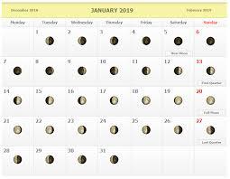 January 2019 Moon Phases Calendar Moon Schedule Full Moon