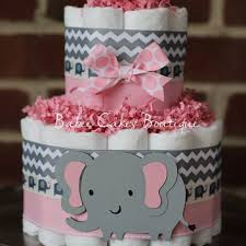 mini 2 tier elephant diaper cake pink gray elephant baby shower girl baby shower ce