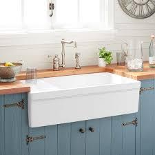 36 gallo fireclay farmhouse sink with drainboard white