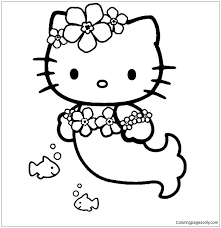 Coloring pages for kids can be a great way to see primary and secondary colors in action brightening up a piece of paper! Luxury Hello Kitty Mermaid Coloring Pages Cartoons Coloring Pages Free Printable Coloring Pages Online