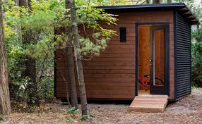 12x8 modern garden shed with custom maibec siding and black corrugated metalmodern shed toronto