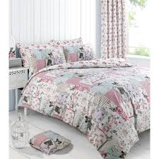velosso reversible shabby chic vintage birds boutique duvet quilt cover multi printed bedding set single on on