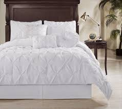 chezmoi collection 7piece sydney pintuck pleated comforter set queen white white duvet cover full k56
