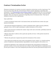 Termination Of Cleaning Services Letter Contract Termination Letter