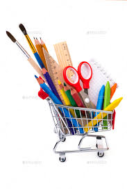 office drawing tools. School Or Office Supplies, Drawing Tools In A Shopping Cart - Stock Photo Images