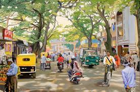 bangalore street scene india oil painting on canvas impressionism cityscape landscape