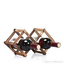 Small wine racks Design 2019 Creative Wood Wine Bottle Rack Foldable Rhombus Shaped Countertop Small Wine Rack Bottle Wine Rack Organizer Display Shelf Barware From Fullhouse517 Dhgatecom 2019 Creative Wood Wine Bottle Rack Foldable Rhombus Shaped