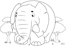 Small Picture Cute Cartoon Elephant coloring page Free Printable Coloring Pages