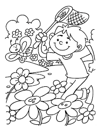 Spring Coloring Pages Boy Catching Butterfly Coloringstar