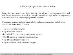 Software Programmer Cover Letter