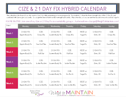 Cize And 21 Day Fix Hybrid Workout Calendar Free Printable