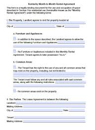 Month To Month Rental Agreement Template Free Kentucky Month To Month Lease Agreement Template Pdf