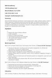 Senior Net Developer Resume Sample Inspirational Sample Net Resumes Classy Net Developer Resume