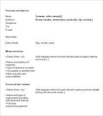 sample blank cv     documents in pdf  wordblank cv template example