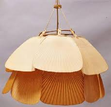 ingo maurer uchiwa pendant chandelier rice paper and bamboo in good condition for in
