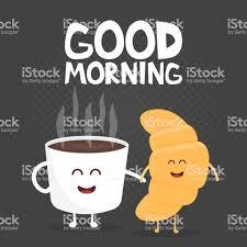 Guten Morgen Vektorillustration Lustige Süße Croissant Und Kaffee Mit Einem Lächeln Augen Und Hände Gezeichnet Stock Vektor Art Und Mehr Bilder Von