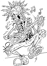 Small Picture Halloween Coloring Pages of Skeleton Rockstar Coloring Pages