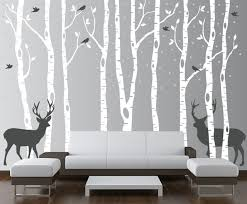 Small Picture Birch Tree Wall Decal Forest with Snow Birds and Deer Vinyl