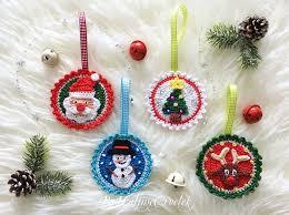 Weihnachtsanhänger Häkelaufnäher Girlande