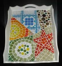 Mosaic Tray, Mosaic Glass, Glass Tiles, Stained Glass, Lazy Susan, Plateau,  Creative Ideas, Trays, Vases