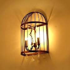 shabby chic wall sconce light sconces rustic clear crystal 2 candle style metal bird cage decor