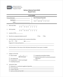 adverse event reporting form 9 adverse event form free sample example format download
