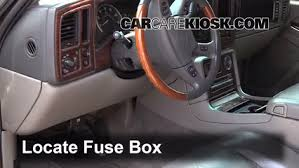 interior fuse box location cadillac escalade  interior fuse box location 2002 2006 cadillac escalade 2005 cadillac escalade esv 6 0l v8