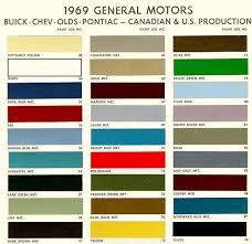 1965 Pontiac Color Chart 1969 Chevelle Paint Codes